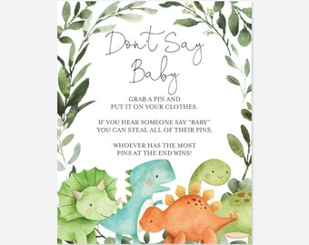 Dinosaur Baby Shower Don't Say Baby Game, Dinosaur Don't Say Baby, Dinosaur Baby Shower Game, Dinosaurs, Instant Download, Templett - BB5