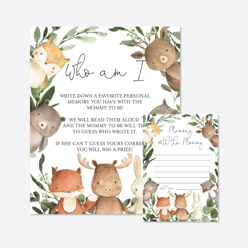 Instant Download Woodland Baby Memory Game Woodland Who Am I Game BB3 Woodland Baby Shower Who Am I Game Templett Woodland Animals