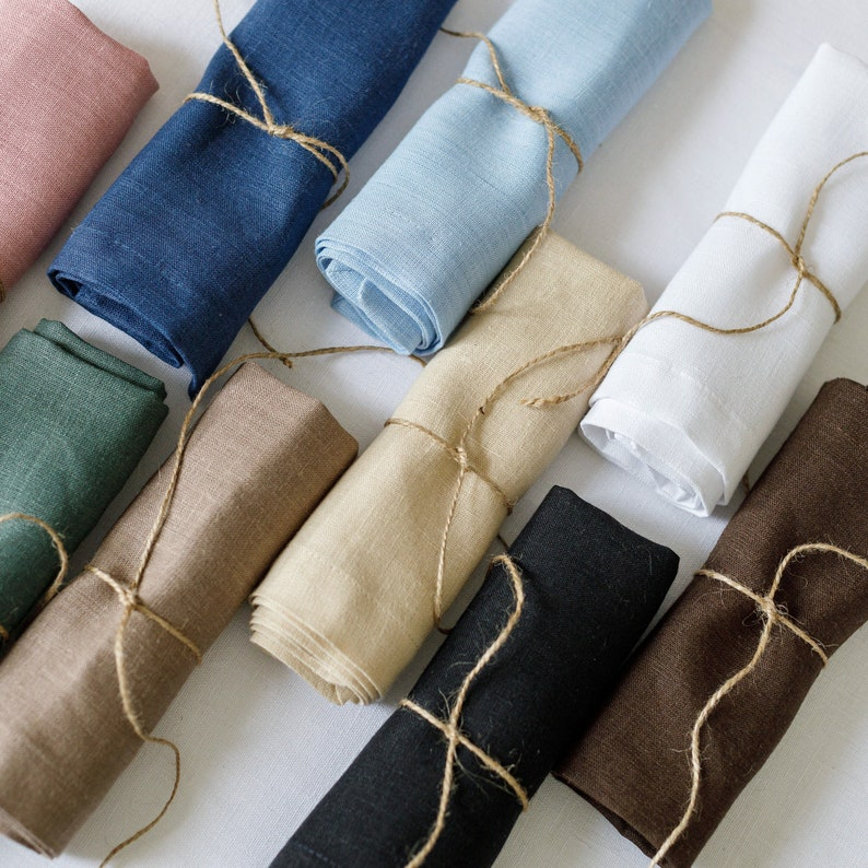 Cloth linen napkin set of 2 4 6 8 10 in blue pink green image 0