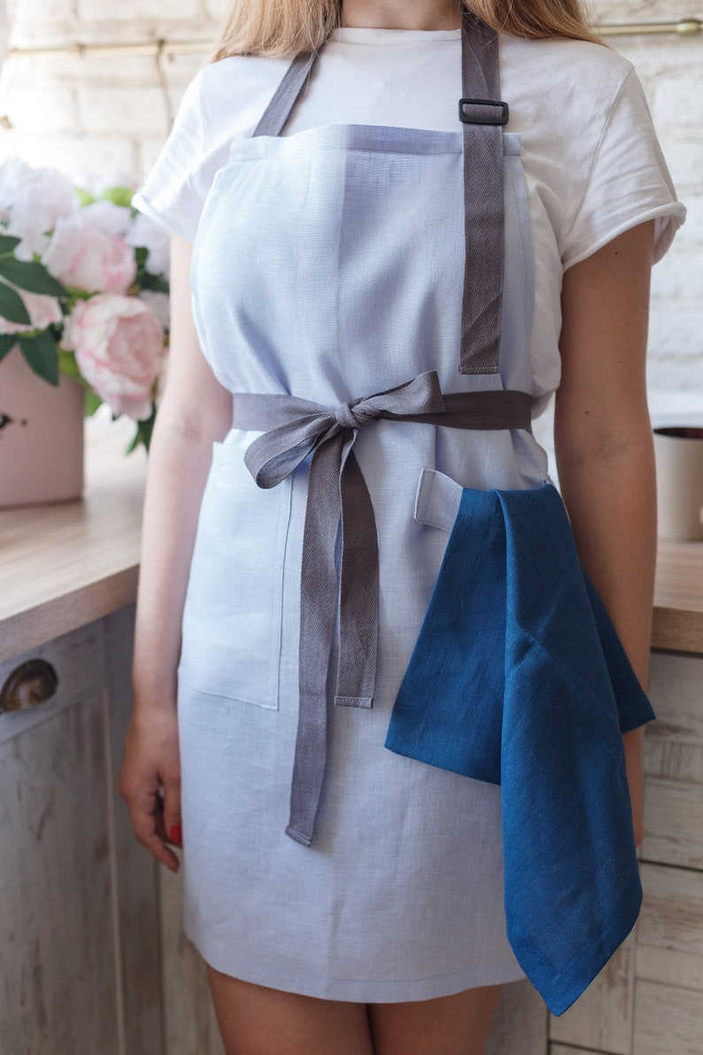 women blue skies clothing Kitchen linen apron foodie gift cooking baking work apron