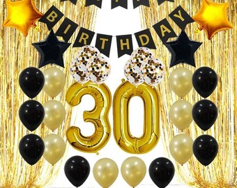 30th40th50th60th Birthday Decorations Gifts For Men Women Party Backdrop Supplies Kit Foil Fringe CurtainBirthday Banner Balloons