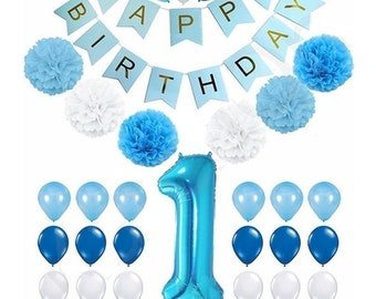 Boy 1st Birthday Decoration Kit Happy Banner Paper Pompoms Balloons First Party Supplies