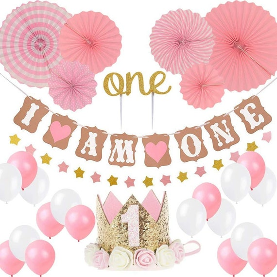 "10 pc 11/"" Girl 1st Birthday Soft Print Latex Balloon Happy Birthday Party First"