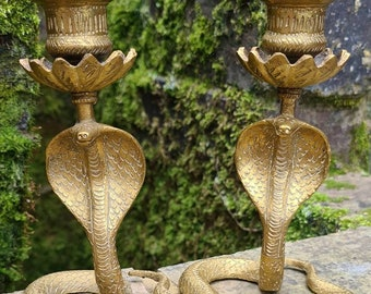 Pair Of Vintage Solid Brass Cobra Snake Candlesticks Candle Holders, Pagan, Wiccan, Witchcraft, Witch, Serpent