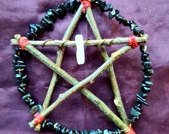 Rose Quartz & Black Agate Altar Pentacle Altar Piece, Pagan, Witchcraft, Wiccan, Tree Decoration, Yule