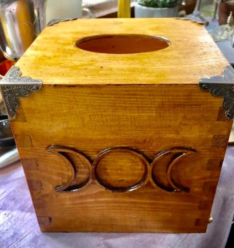 Triple Moon Goddess Wooden Tissue Box Witchcraft Pagan image 0