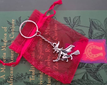 Witch Key Ring Bag Charm With Gift Bag, Pagan, Wiccan, Witchcraft, Halloween, Samhain