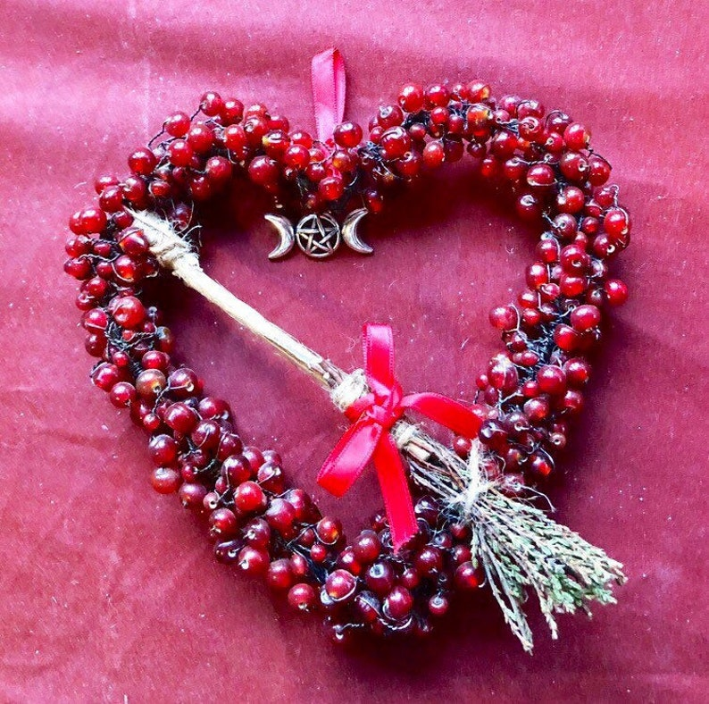 Heart Wreath Wall Hanger With Besom Broomstick Home Decor image 0