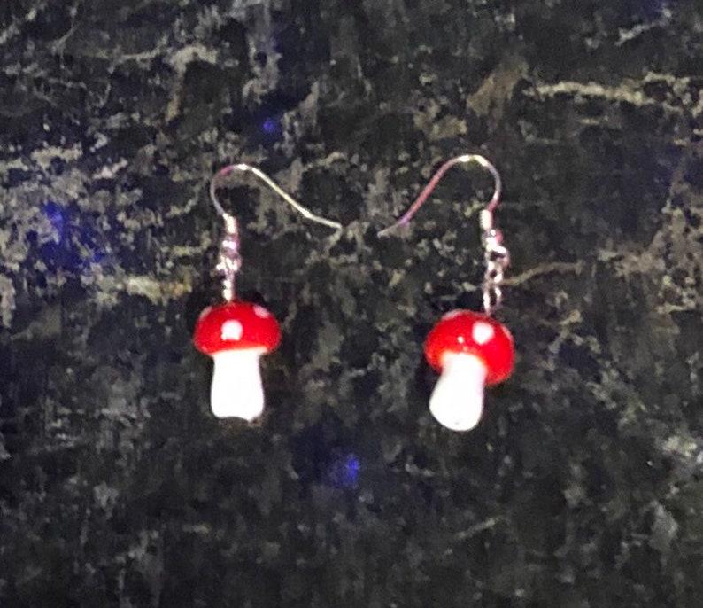 Toadstool Earrings Mushrooms Sterling Silver Earrings image 0