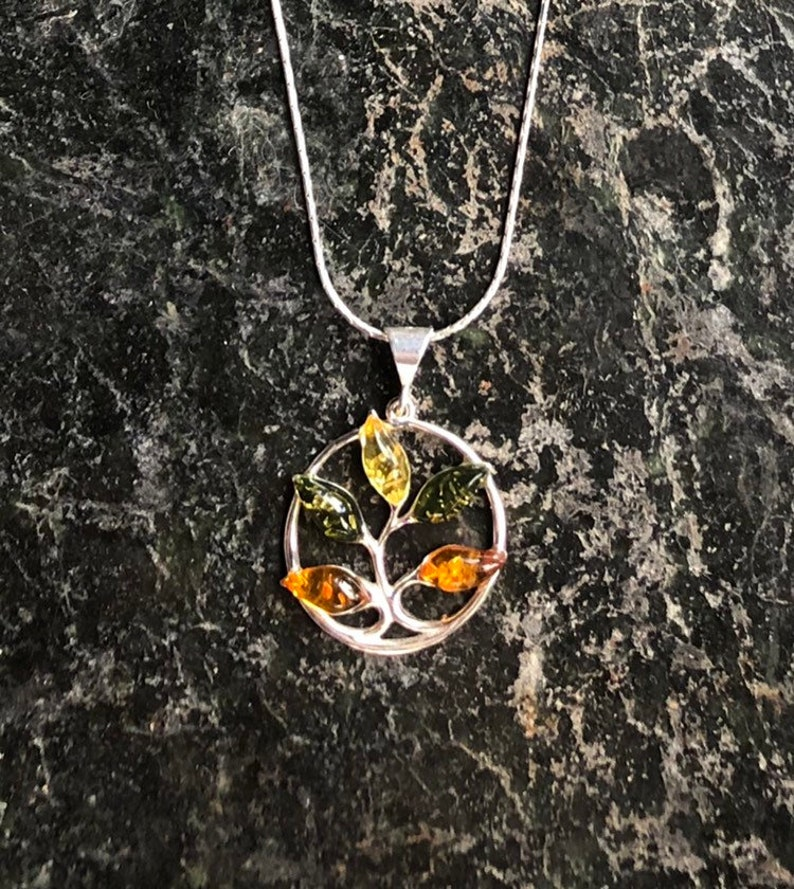 Baltic Amber Pendant Tree Of Life  Sterling Silver Necklace image 0