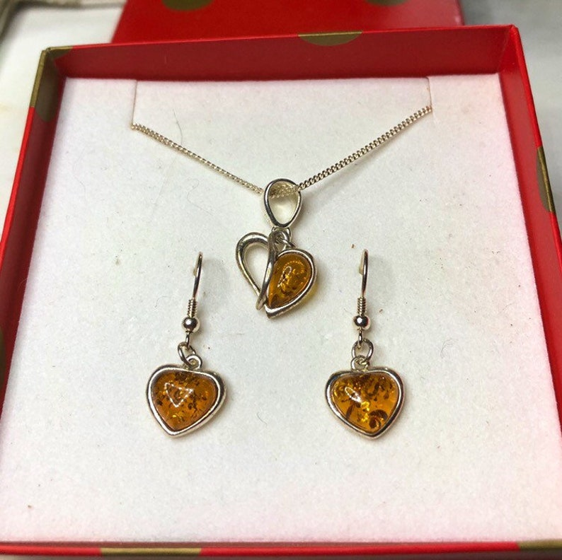 Baltic Amber Silver Heart Necklace & Earrings Romantic Gift image 0