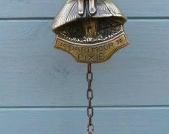 Vintage Brass Dartmoor Pixie Door Bell, Jaco O Lantern Door Ringer, Outdoor Bell, Piskie, Piskey, Imp, Folklore, Pagan, Witchcraft, Wiccan