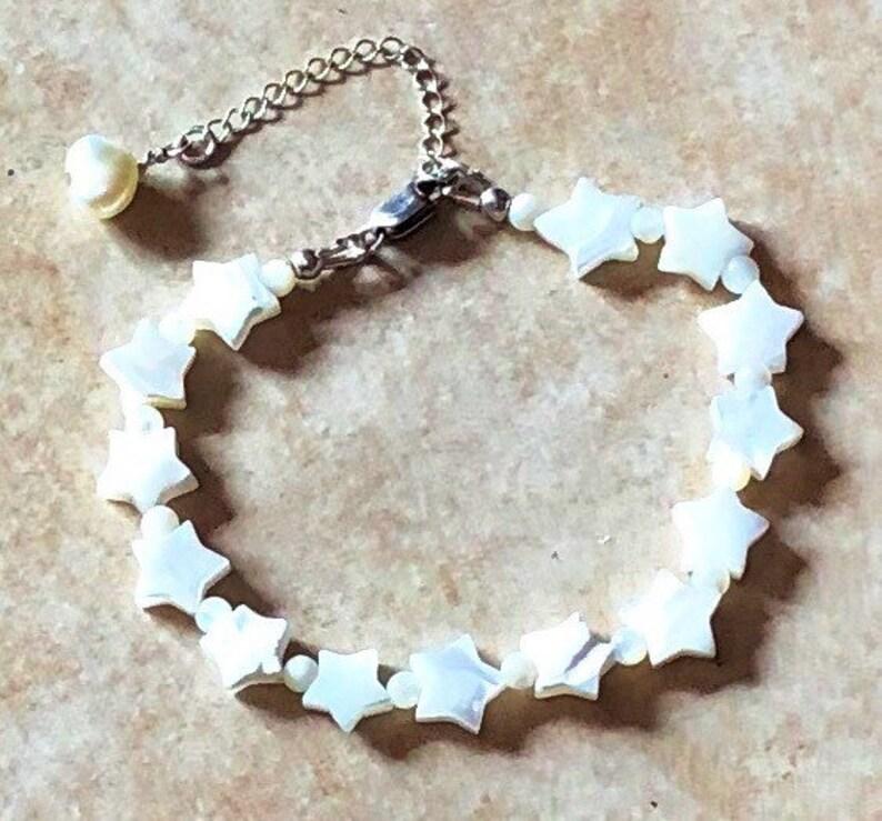 Celestial Star Bracelet Sterling Silver. Sea Shell Sea image 0