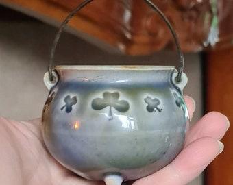 Vintage Celtic Cauldron, Witches Cauldron, Wade Pottery, Witchcraft, Pagan, Wiccan, Witch, Ireland, Irish Porcelain, Shamrocks