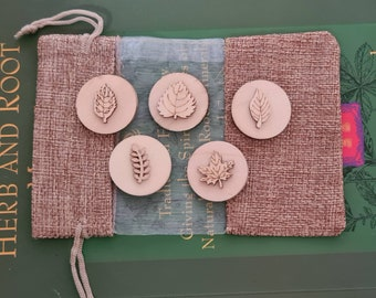 Wooden Leaf Playdough Stamps & Pouch, Pagan, Wiccan, Stocking Filler