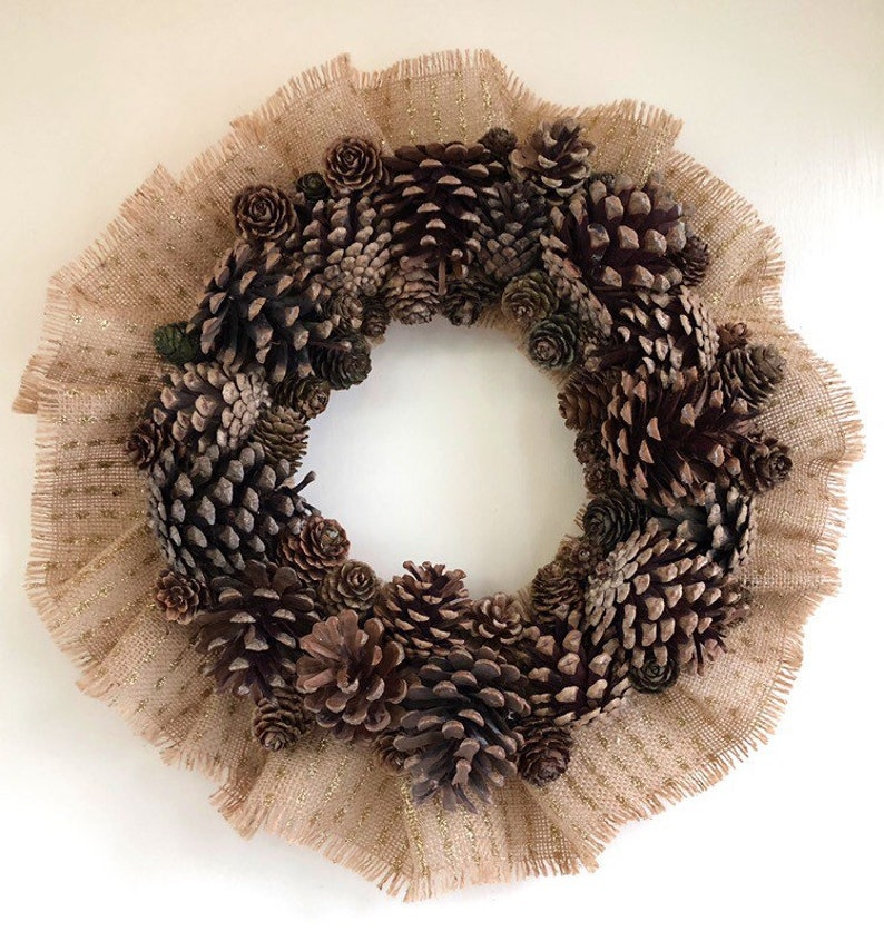 Pine Cone Door Wreath Fall Wreath Yule Wreath 14 Inch image 0