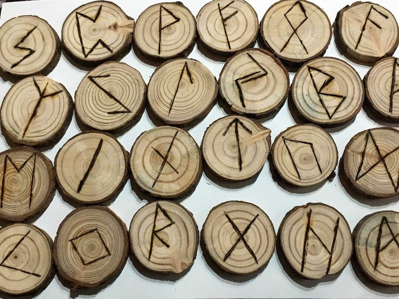 Elder Futhark Runes Pyrography Gift Pagan Wiccan image 0