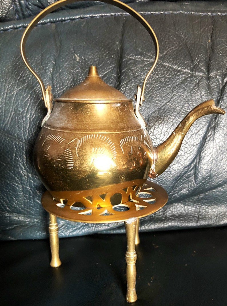 Vintage Brass Kettle And Trivet Brass Kettle And Stand image 0