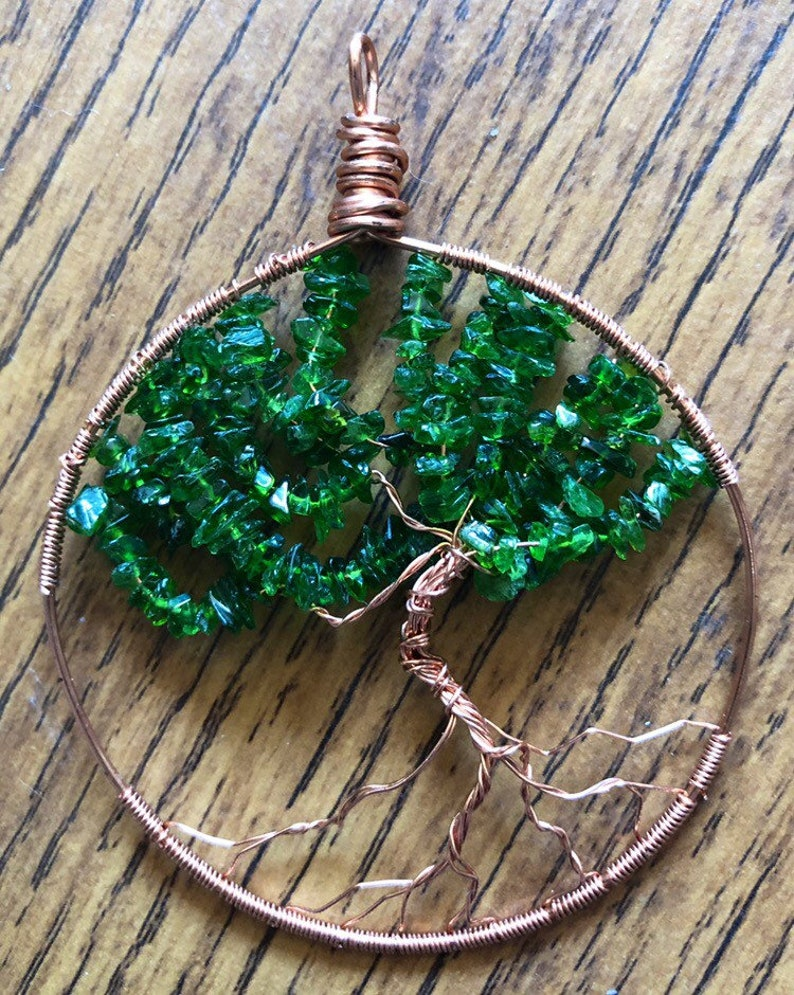 Tree Of Life Pendant Copper Hand Wired Russian Chrome image 0
