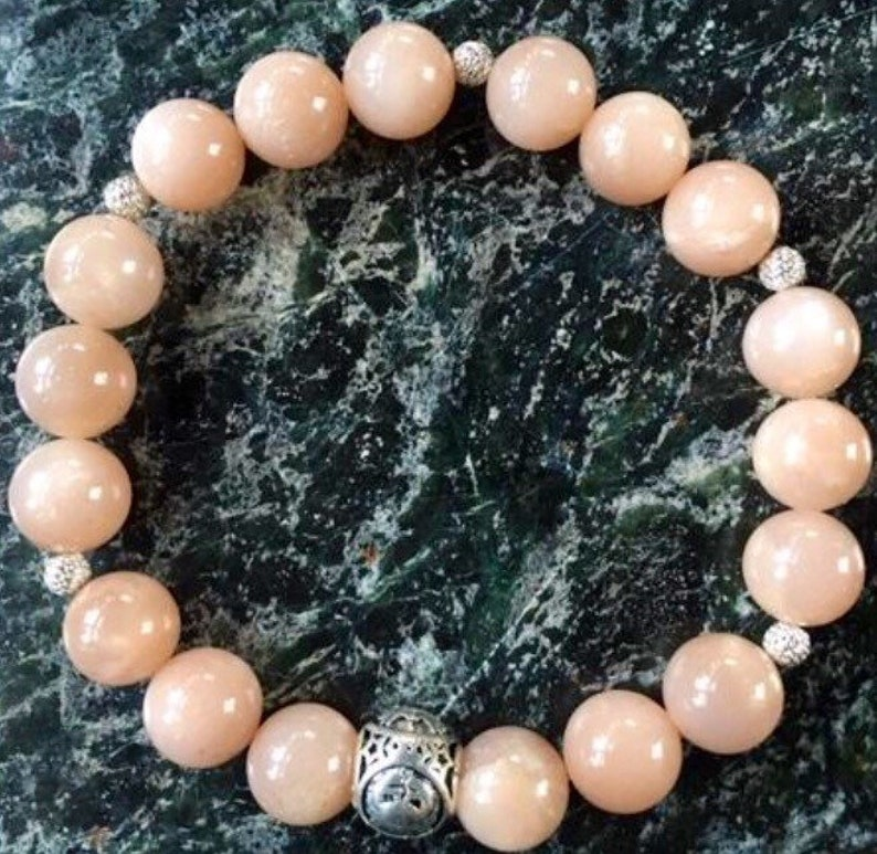 Personalised Peach Moonstone Bracelet Cancer  'The image 0