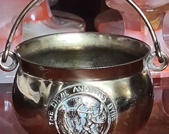Vintage Brass Cauldron, The Devil And His Dyke, Pagan, Wiccan, Witchcraft, Witch, Altar, Incense Burner, Peerage, Altar Piece
