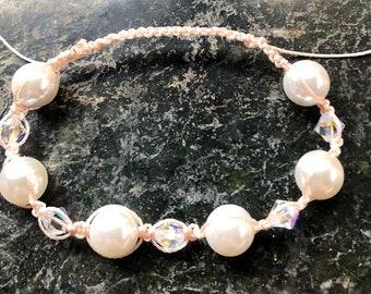 Macrame Bracelet, Pearl And Swarovski Crystal Bracelet, Pagan, Wiccan, Witchcraft, Bridal, Wedding, Anniversary, Birthday, June Birthstone