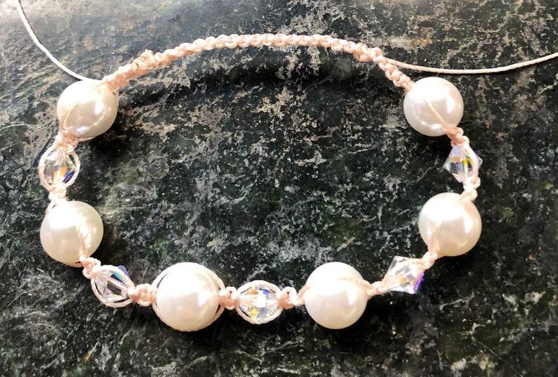 Macrame Bracelet Pearl And Swarovski Crystal Bracelet Pagan image 0