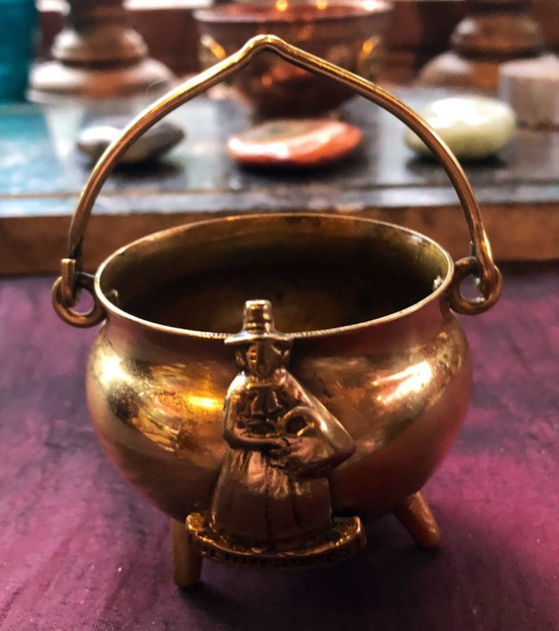 Vintage Brass Cauldron Witches Cauldron Jenny Jones image 0