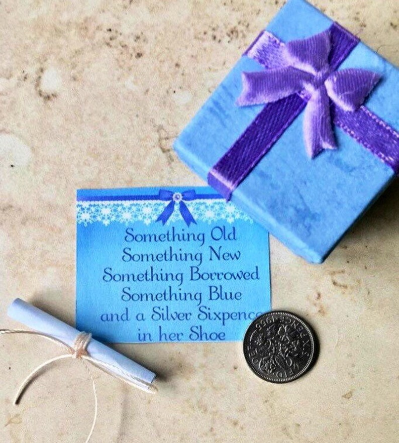 Lucky Sixpence Gift Something Blue Wedding Gift image 0