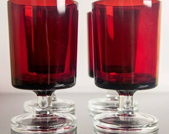 Vintage Luminarc Pair Of Red Glasses Or Altar Votives Bohemian Candle Holders,  Pagan, Wiccan, Witchcraft, Witch