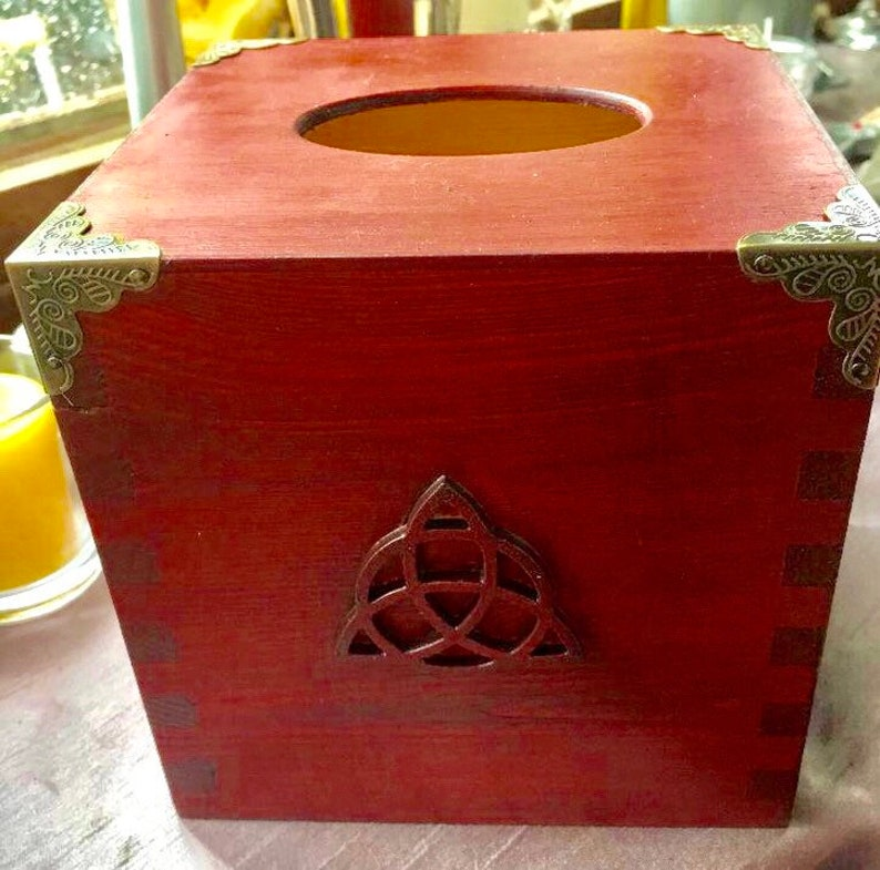 Triskele Tissue Box Gift Pagan Wiccan Witchcraft Fathers image 0