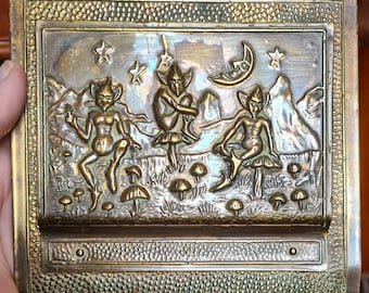 Vintage Brass Wall Mounted Pixie Letter Holder Letter Rack, Pagan, Wiccan, Witch, Witchcraft