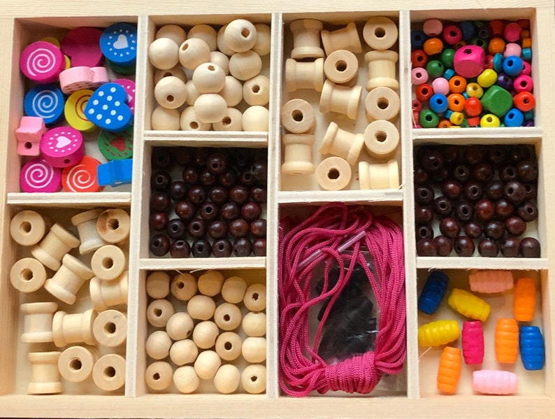 Threading Busy Box Wooden Beads Jewellery Making Heuristic image 0