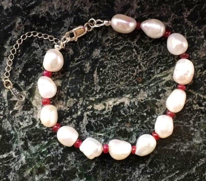 Ruby And Pearl Bracelet Sterling Silver Bracelet Gemstone image 0