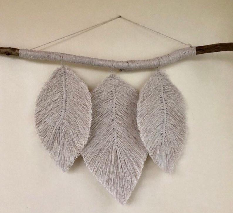 Macrame Feather Macrame Leaf Boho Decor Driftwood Decor image 0