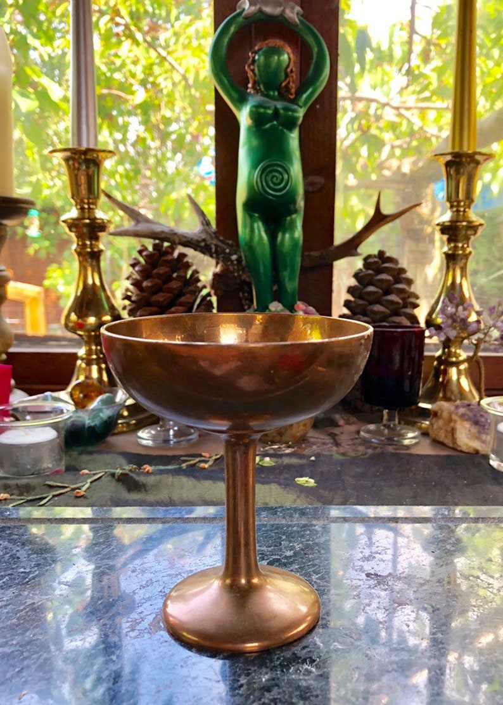 Vintage Brass Altar Chalice Goblet  Pagan Witchcraft image 0