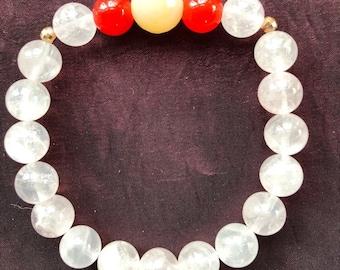 Rose Quartz & Carnelian Bracelet, Natural, 10 mm, Stretchy Bracelet, Stacking Bracelet, Pagan, Wiccan, Witchcraft, Emotional Healing