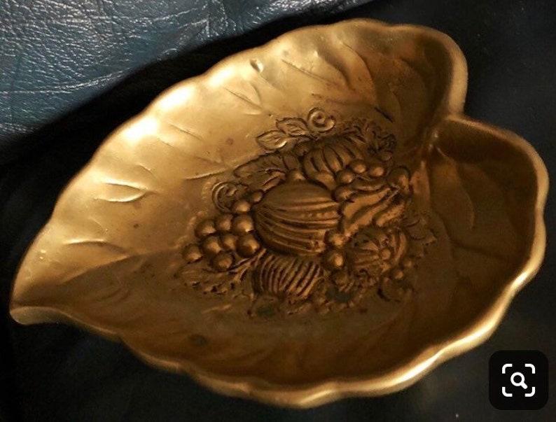Vintage Brass Leaf Offering Plate or Dish Altar Piece image 0