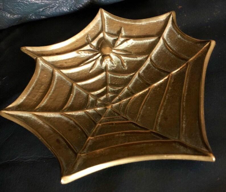 Vintage Brass Spider Web Offering Plate Brass Spider Dish image 0