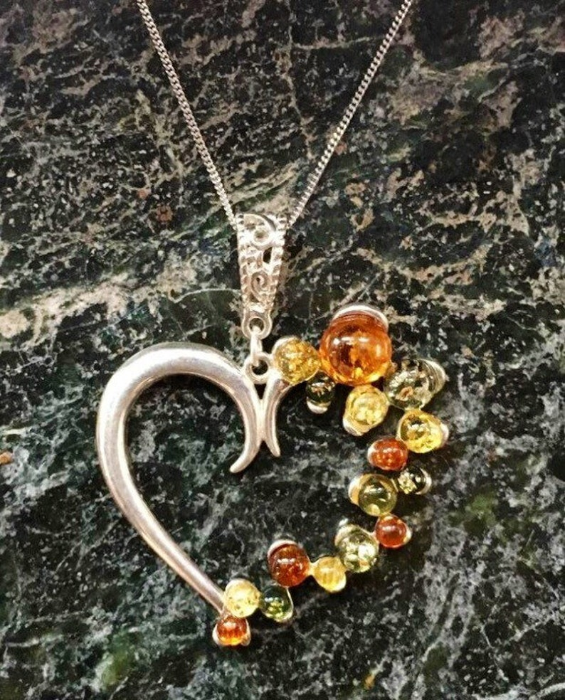 Baltic Amber Necklace Multi Colour Sterling Silver Heart image 0
