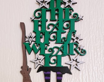 If The Hat Fits Wear It Witch Wall Mounted Hand Painted Wooden Plaque With Besom Broomstick, Witchcraft, Pagan, Wiccan