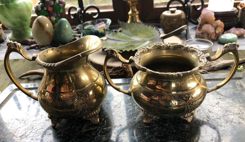 Vintage Brass Witches Consecration Altar Set Witchcraft image 0