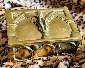 RARE Antique Brass Cornish Piskey Pixie Imp Devil Trinket Box, Altar Box, Witchcraft, Pagan, Wiccan, Witch, Folklore