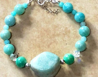 Amazonite Bracelet, Sterling Silver, Gift For Her, Pagan, Wiccan, Witchcraft