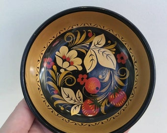 Vintage Wooden Russian Khokhloma Folk Art Gold Red Lacquered Bowl, Offering Bowl, Altar Tool, Pagan, Wiccan, Witchcraft, Pin, Coin