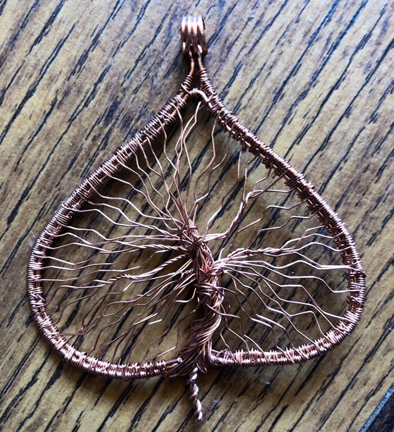 Tree Of Life Pendant Copper Hand Wired Leaf Shaped Tree Of image 0