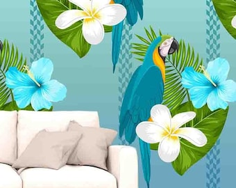 Tropical Wallpaper Parrot Exotic Leaf Removable Mural Self Adhesive Roll Peel And Stick X18