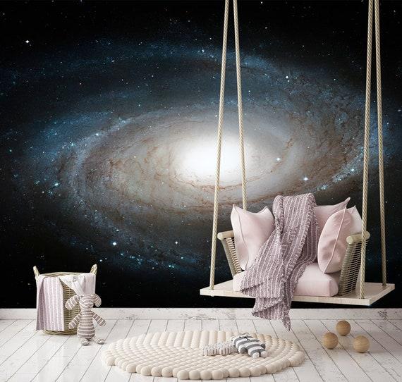 Space Wallpaper Nursery Dark Wallpaper Galaxy Removable Etsy