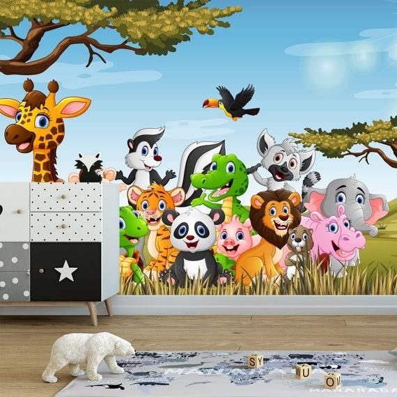 Animals Safari Wallpaper Nursery Africa Wallpaper Removable Mural Self Adhesive Wallpaper Peel And Stick Wallpaper Kids Wall Decor X239