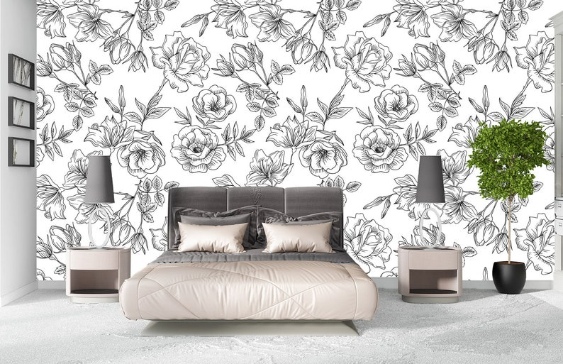 Flower Wallpaper Rose Floral Wallpaper Black And White Removable Wallpaper Mural Self Adhesive Wallpaper Peel And Stick Wallpaper X55